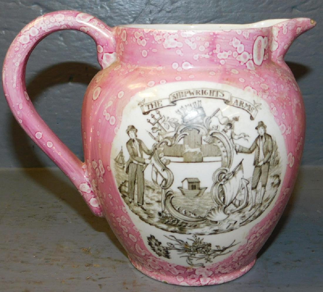 """19th century pink luster pitcher. 6"""" tall. - 2"""