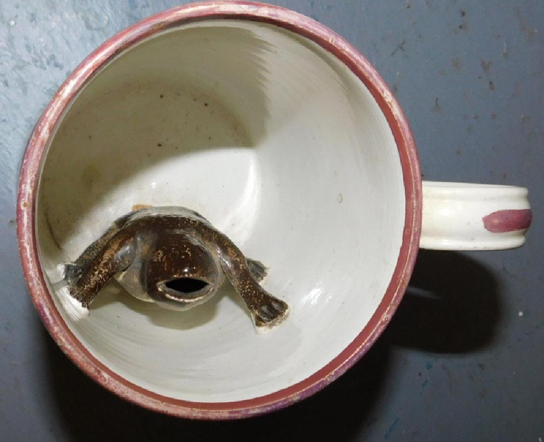 "19th century luster mug with frog. 5"" tall. - 3"