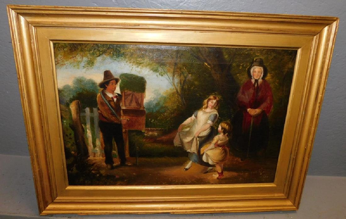 Oil on canvas of family scene (small tear to canvas)