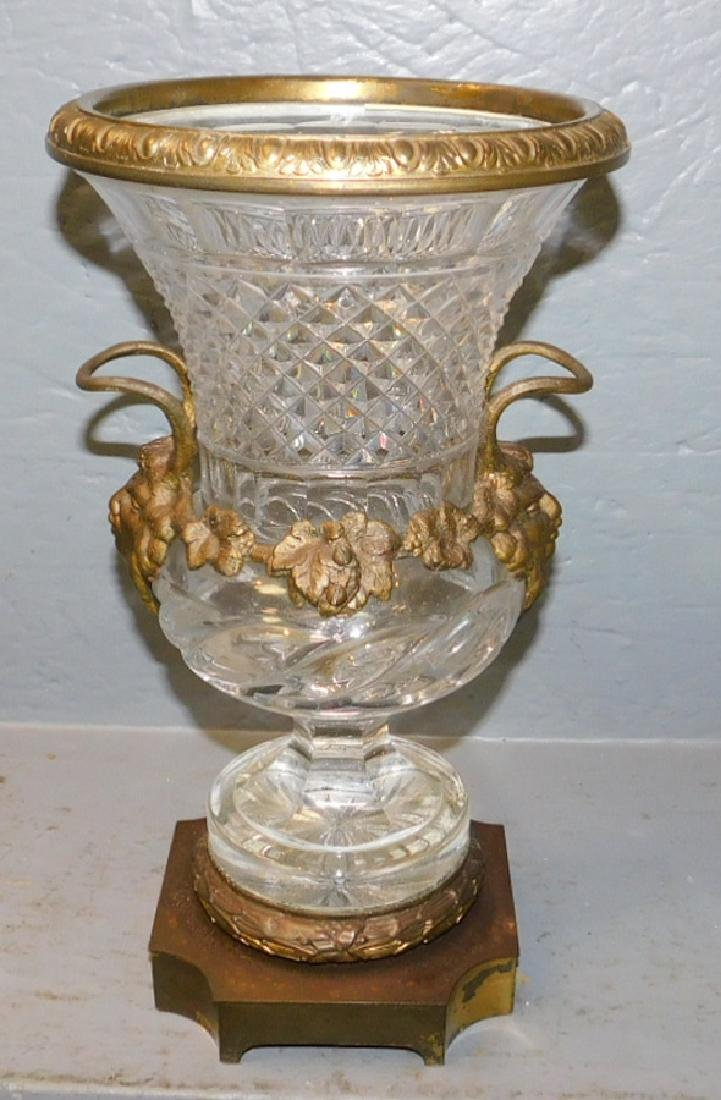 """Pairpoint cut glass bronze mounted vase. 12"""" tall."""