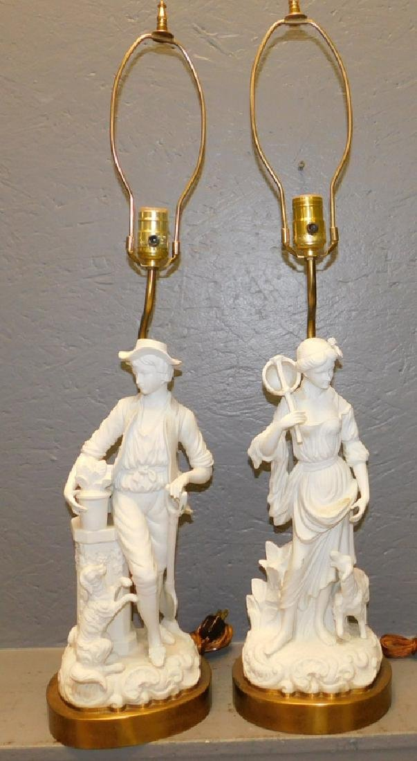 """Pair of Parian figural lamps. 31"""" tall."""