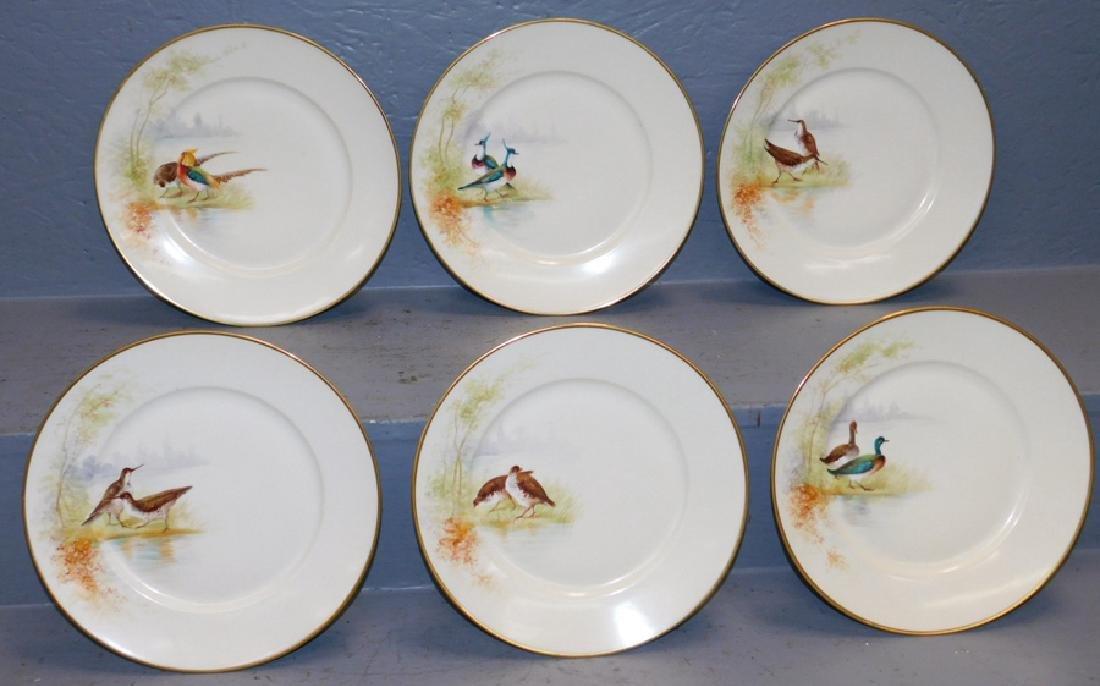 Set of 6 Limoges game plates, artist signed
