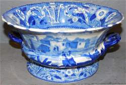 Blue and white transfer ware footed bowl.