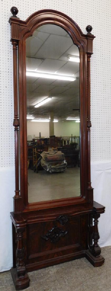 19th century Victorian walnut pier mirror on base.