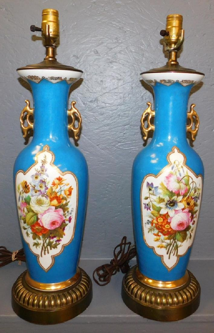 """Pair of early Old Paris vase lamps. 24"""" tall."""