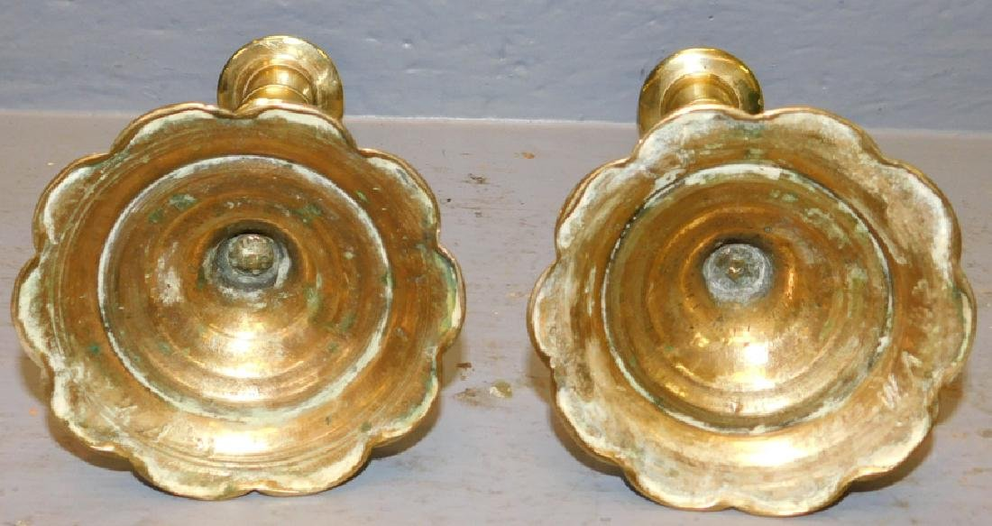 Pair of 18th century QA brass candlesticks - 2