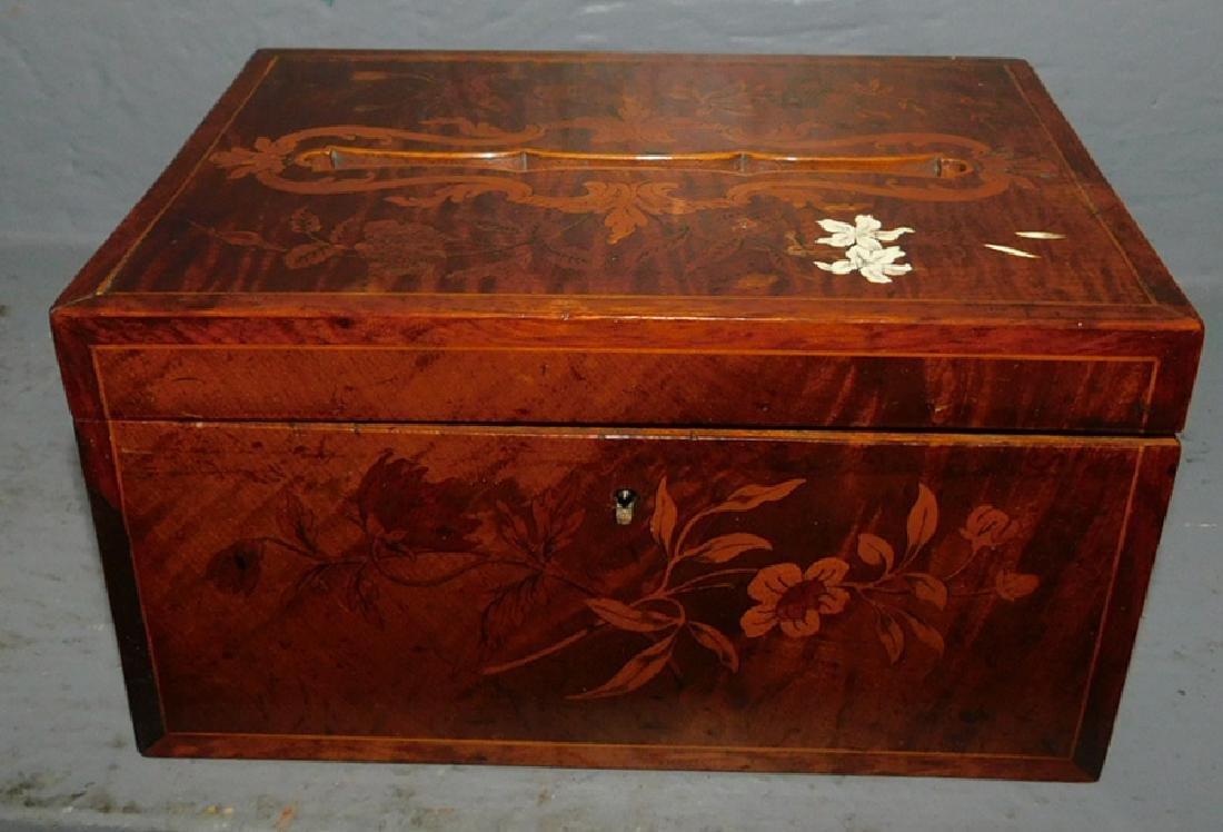 Inlaid birch or tiger maple ballot box.