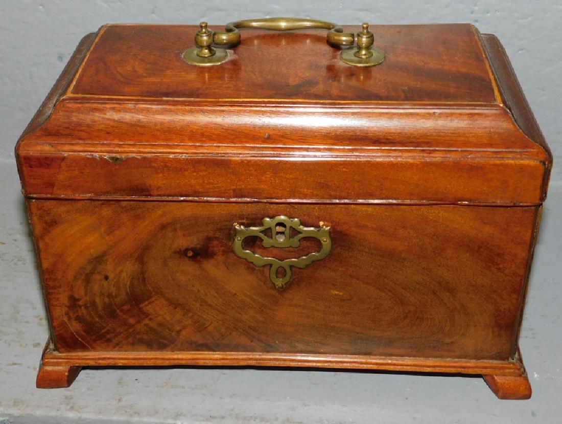 Mahogany 18th century fitted walnut tea caddy.