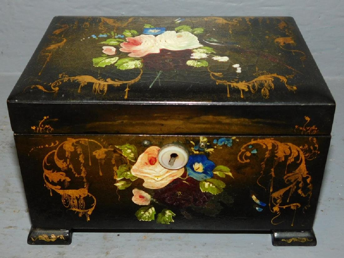 Lacquer and paint decorated fitted tea caddy.