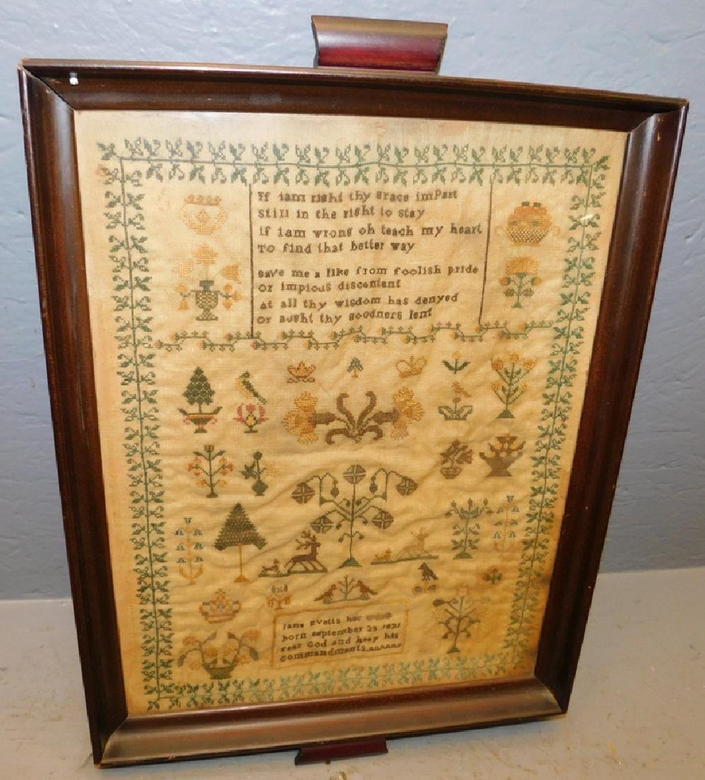 """Jane Evetts framed 1821 sampler. 14"""" x 20""""."""