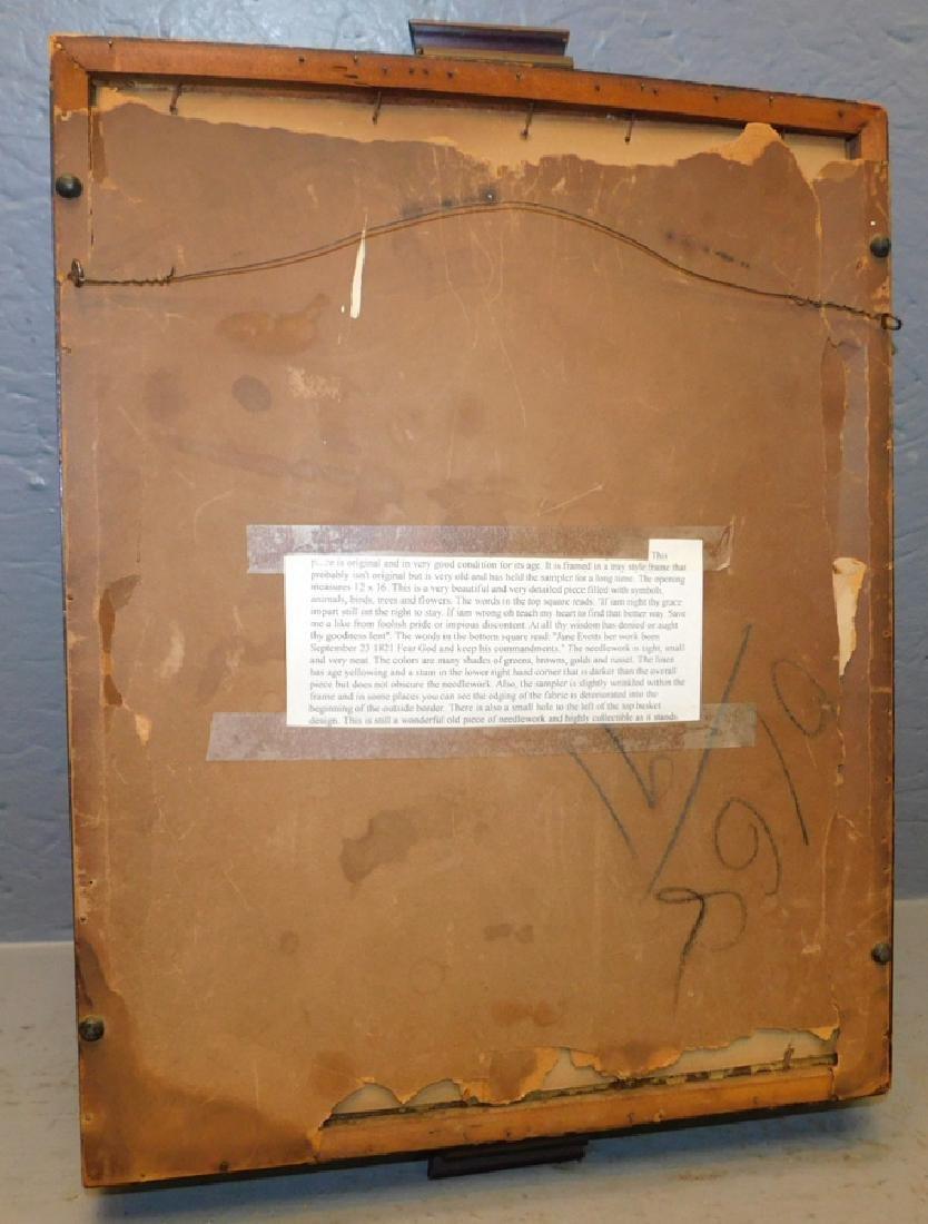 """Jane Evetts framed 1821 sampler. 14"""" x 20"""". - 4"""