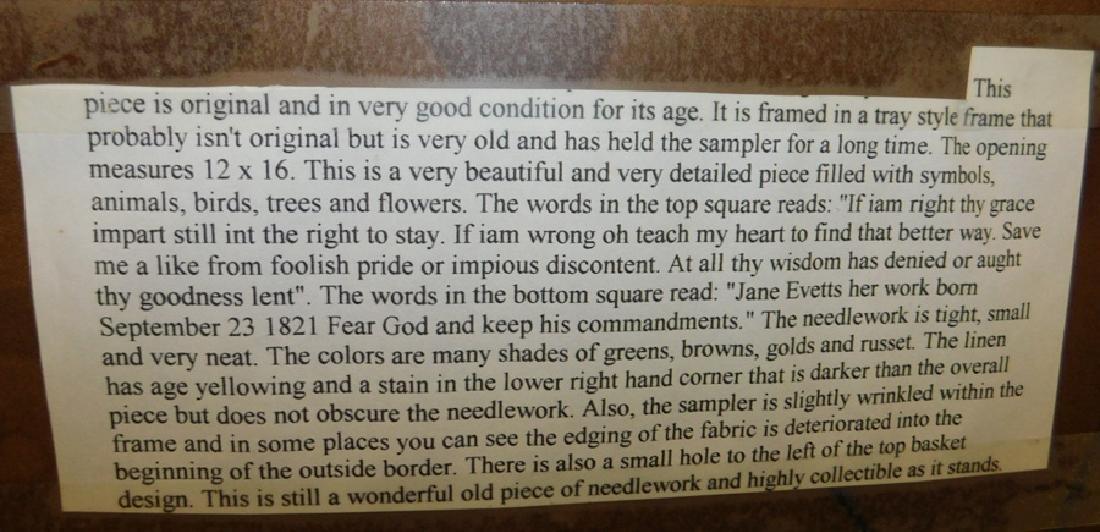 """Jane Evetts framed 1821 sampler. 14"""" x 20"""". - 5"""