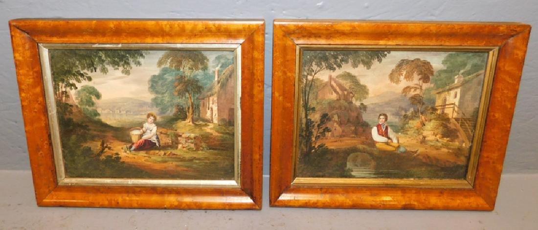 2 19th c watercolors in birds eye maple frames.