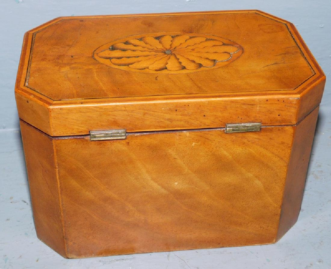 Prince of Wales feathered inl bleach mah tea caddy. - 4