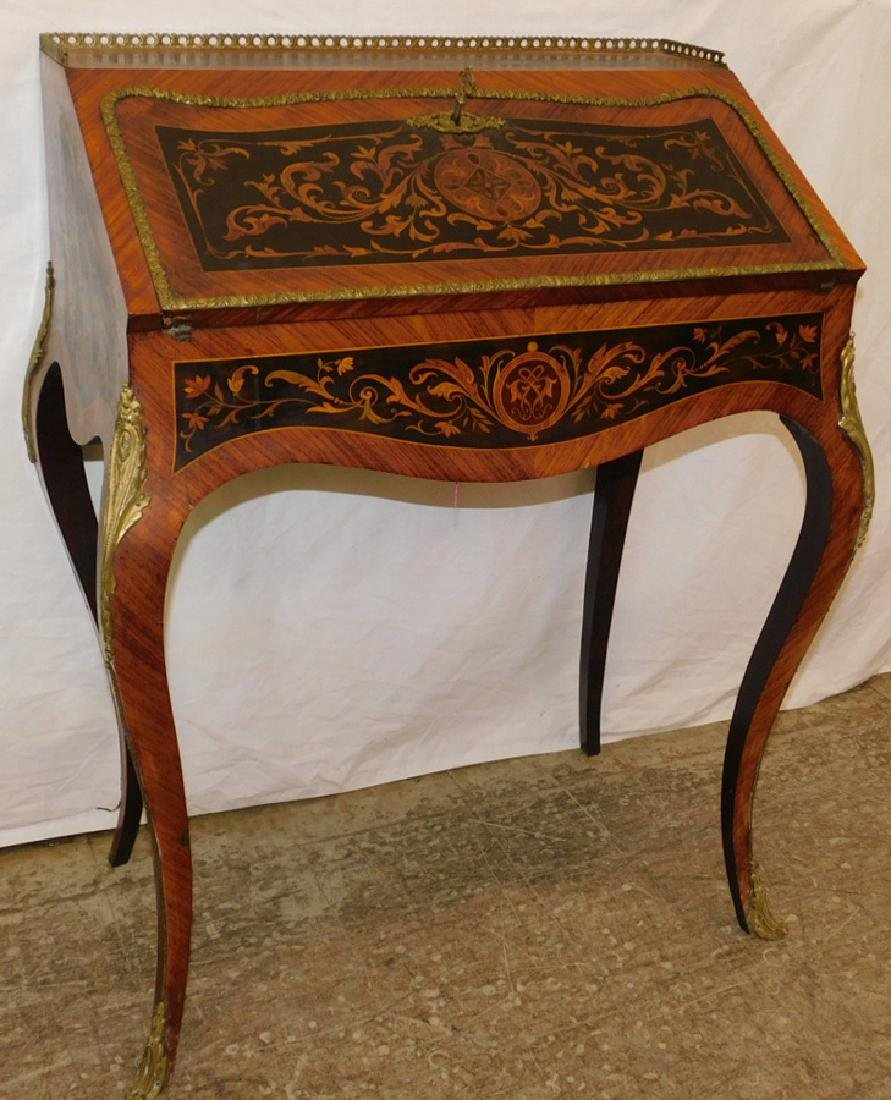 French inlaid bronze mounted ladies desk.