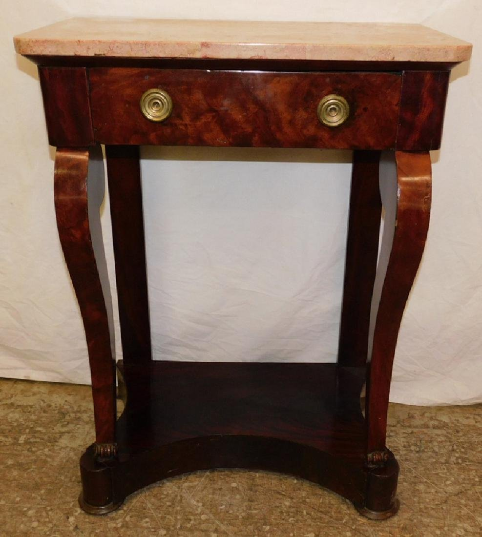 French Empire mahogany marble top console table.