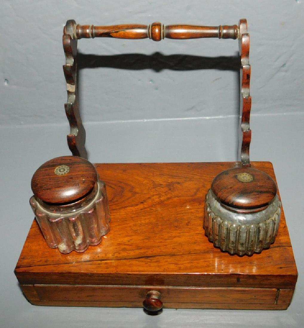 19th c rosewood inkwell with drawer and bottles.