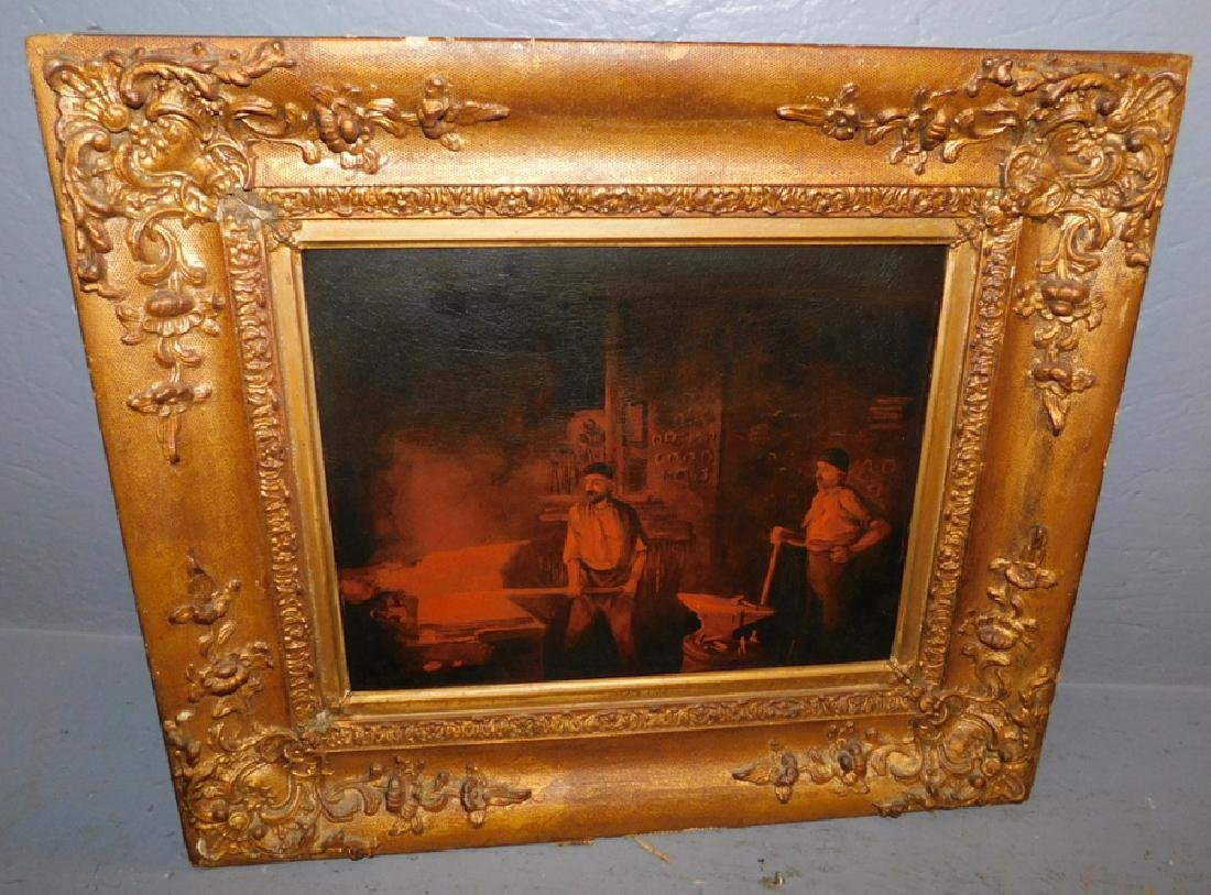Oil on artist board of blacksmith scene, signed