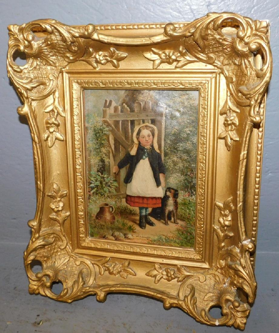 Girl with doll Oil on board labeled W.F. Hardy.