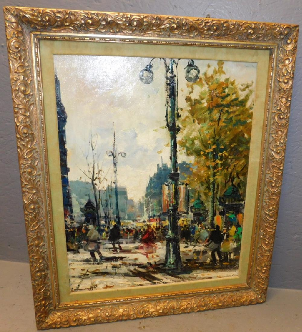 "Oil on canvas Paris street scene. 24"" x 21 1/2""."