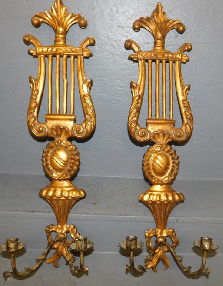 Pair of lyre shaped gilt metal & wood wall sconces