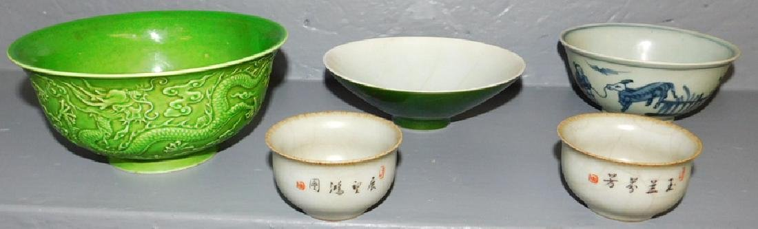 5 pcs. Chinese export antique porcelain. Hairlines.