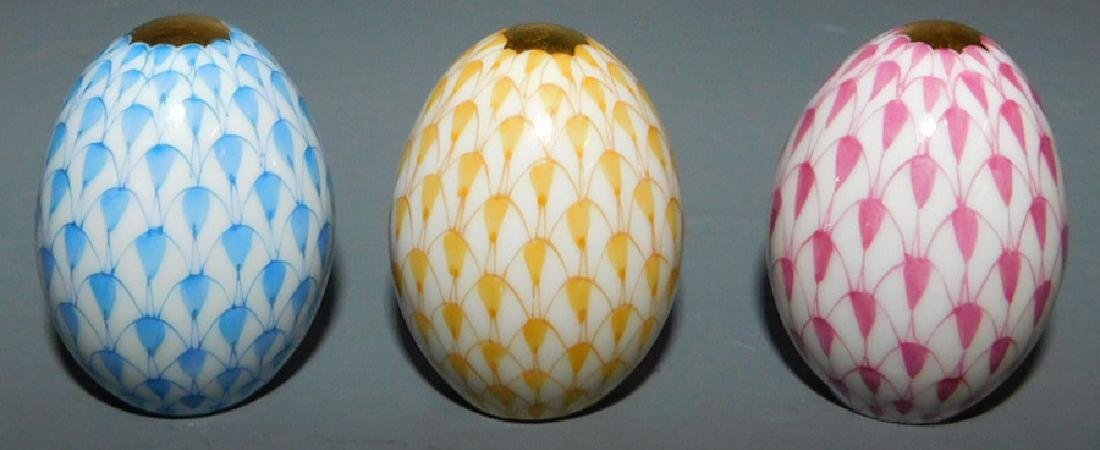"""3 small Herend eggs. 1 1/4"""" tall."""