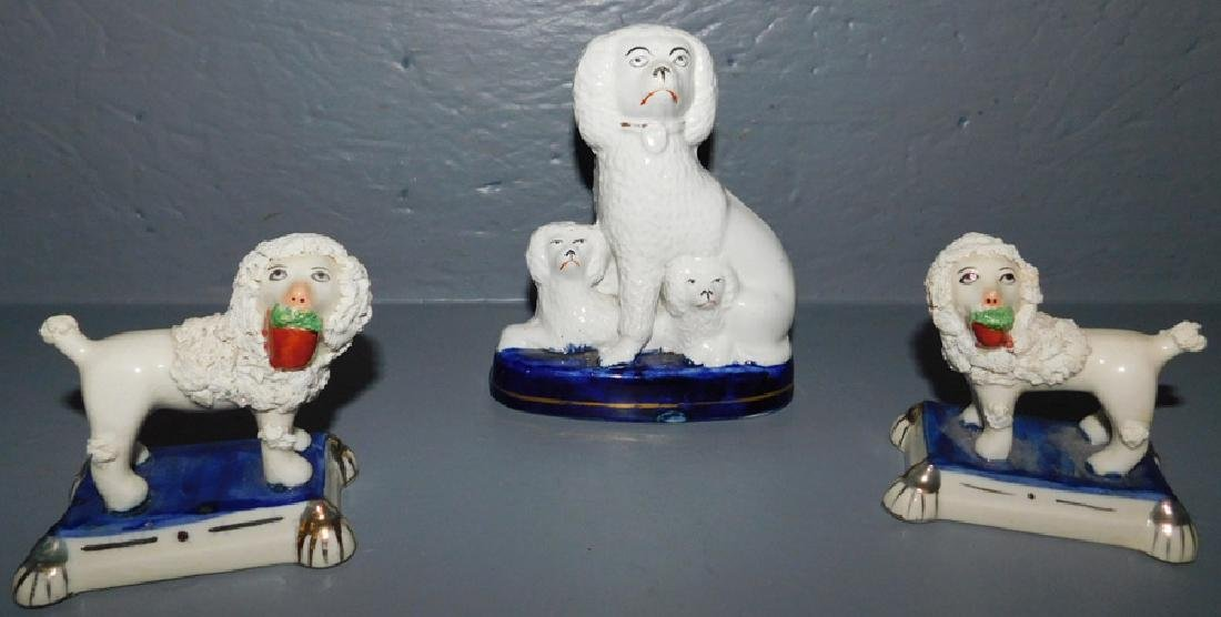 3 English Staffordshire poodle figures.