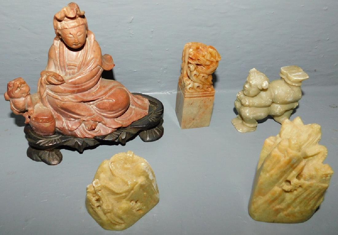 """5 pcs Oriental carved soapstone. To 4 3/4"""" tall."""