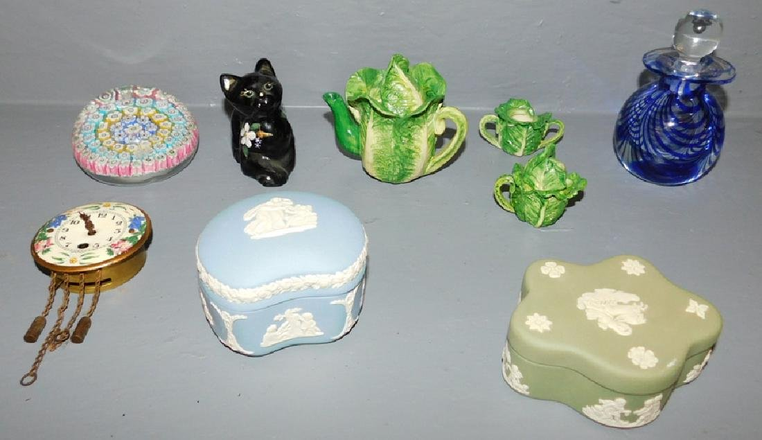 Wedgwood, paperweights, clock, tea set and kitty