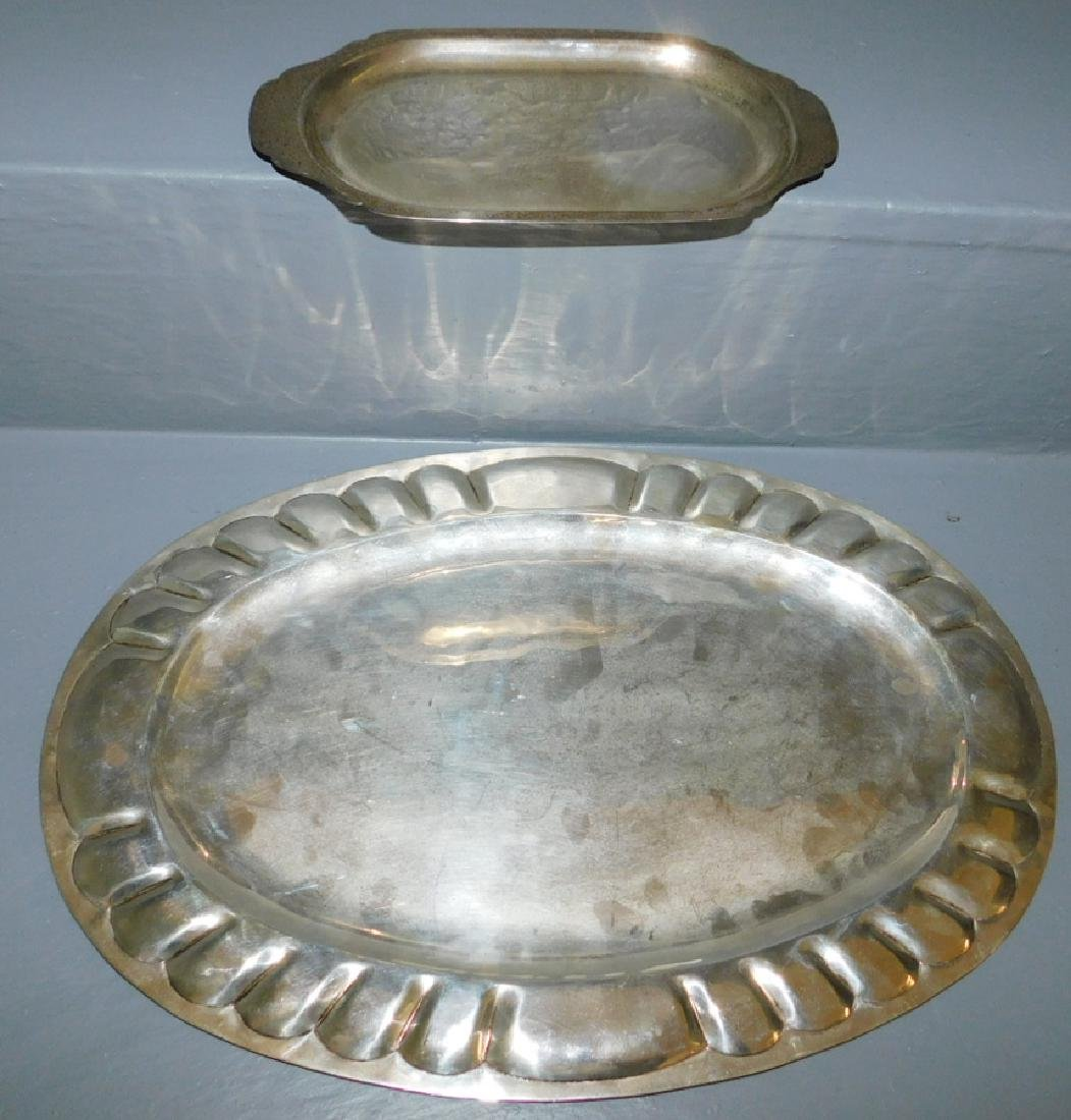 Mexican silver oval tray & sterling pin tray. 31.6 t.o.