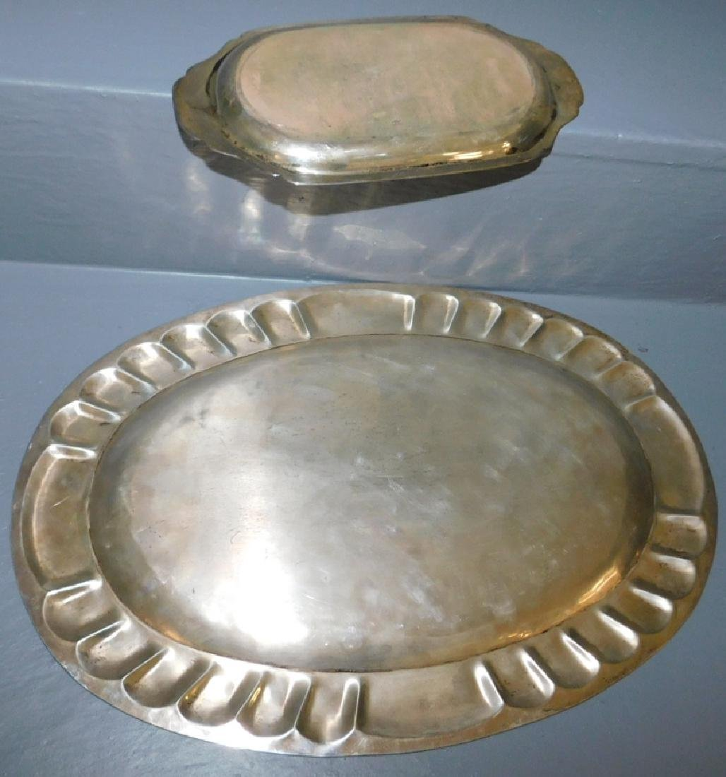 Mexican silver oval tray & sterling pin tray. 31.6 t.o. - 2