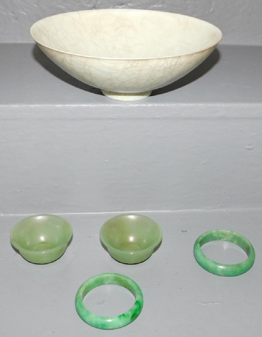 2 jade bangles, 2 jade cups &  crackleware bowl.