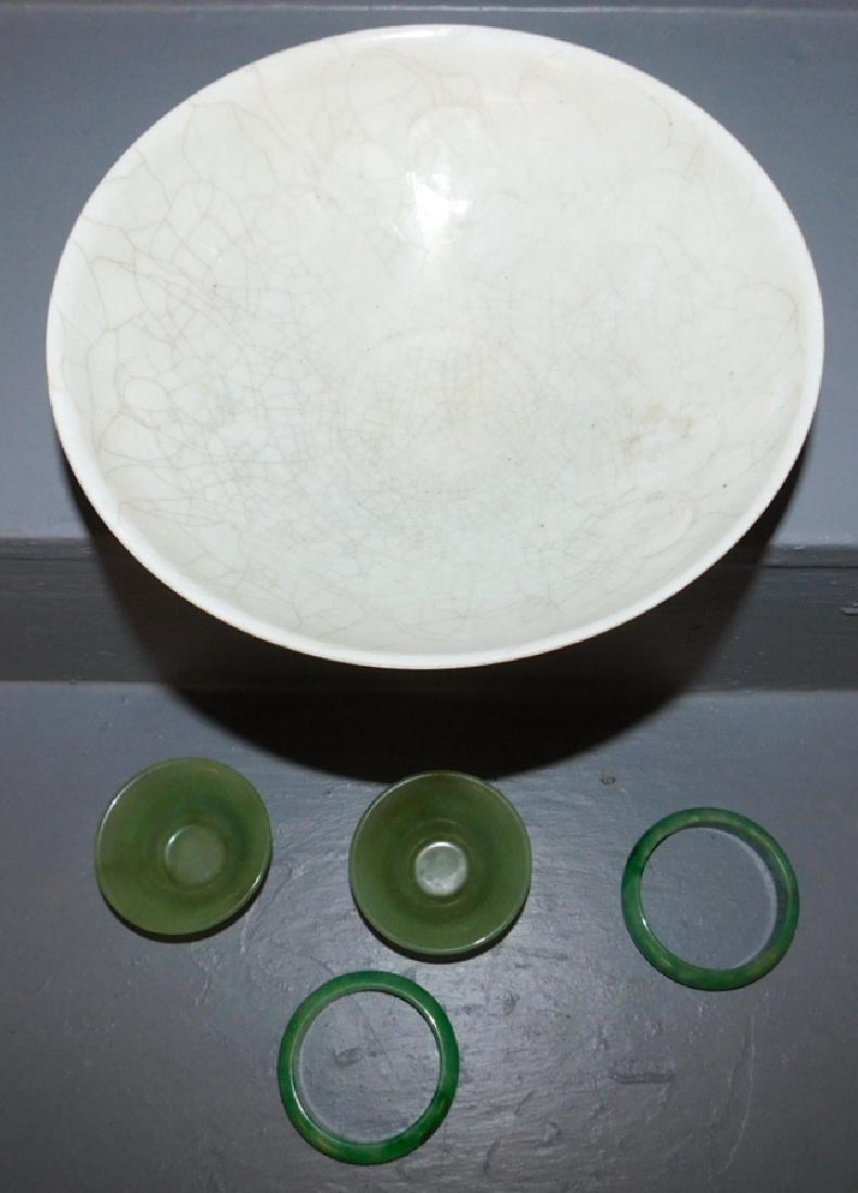 2 jade bangles, 2 jade cups &  crackleware bowl. - 2