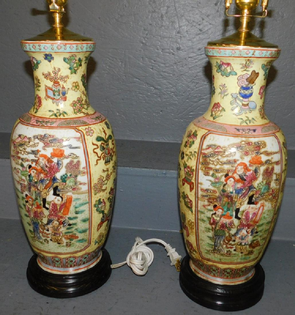 "Pair of Oriental vase lamps. 26"" tall."
