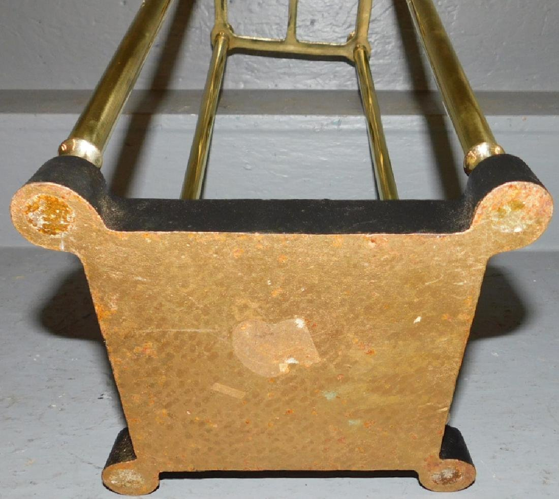 "Polished brass and iron umbrella stand. 25"" tall. - 2"