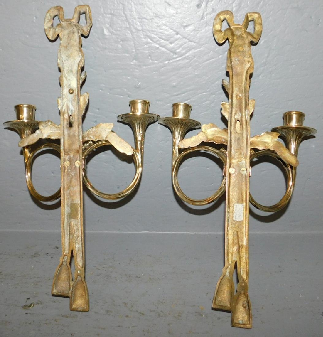 "Pair of polished brass 2 light sconces. 17"" tall. - 3"