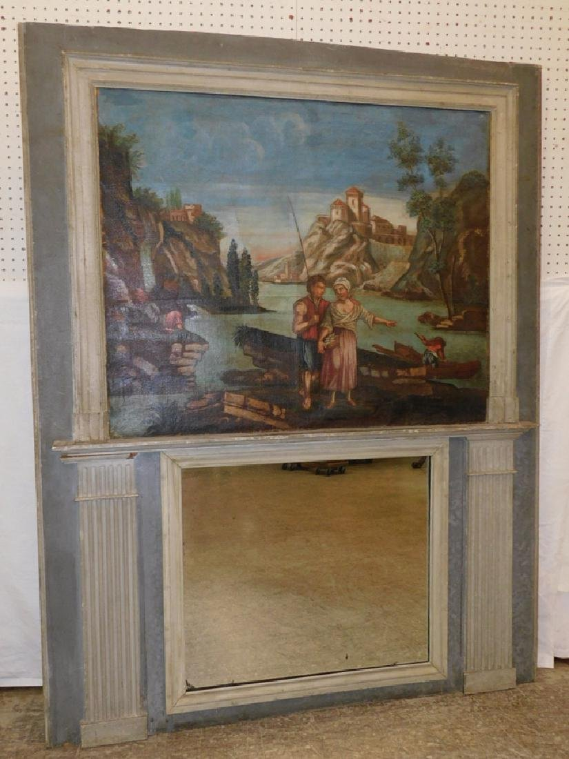 19th c Continental painted OOC trumeau mirror