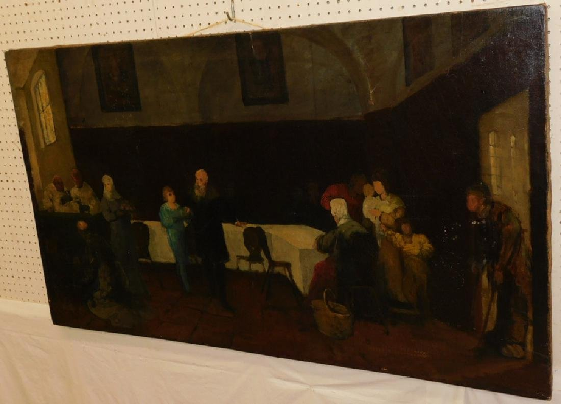 Large 19th c oil on canvas of dining hall scene.