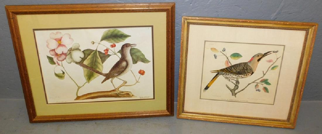 2 Audubon type prints of mockingbird & woodpecker.