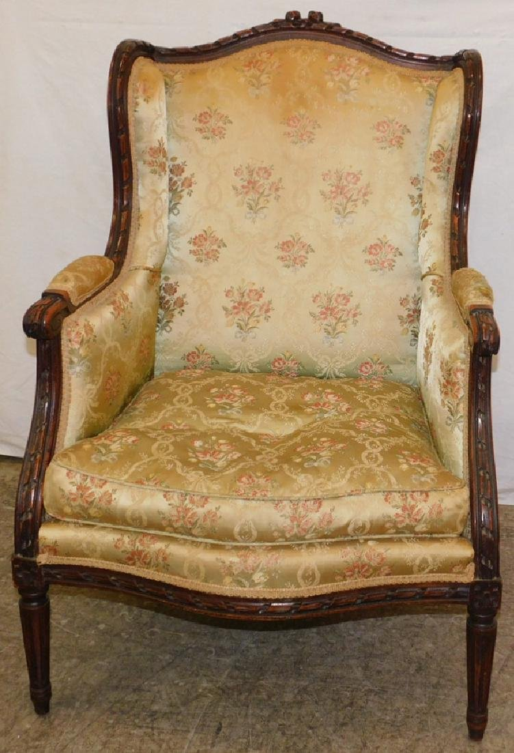 Carved Fr bergere w/ silk uph & down cushion.
