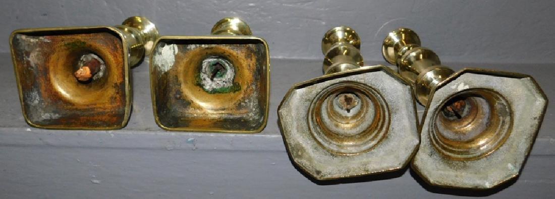 2 pair 19th century polished brass candlesticks. - 2
