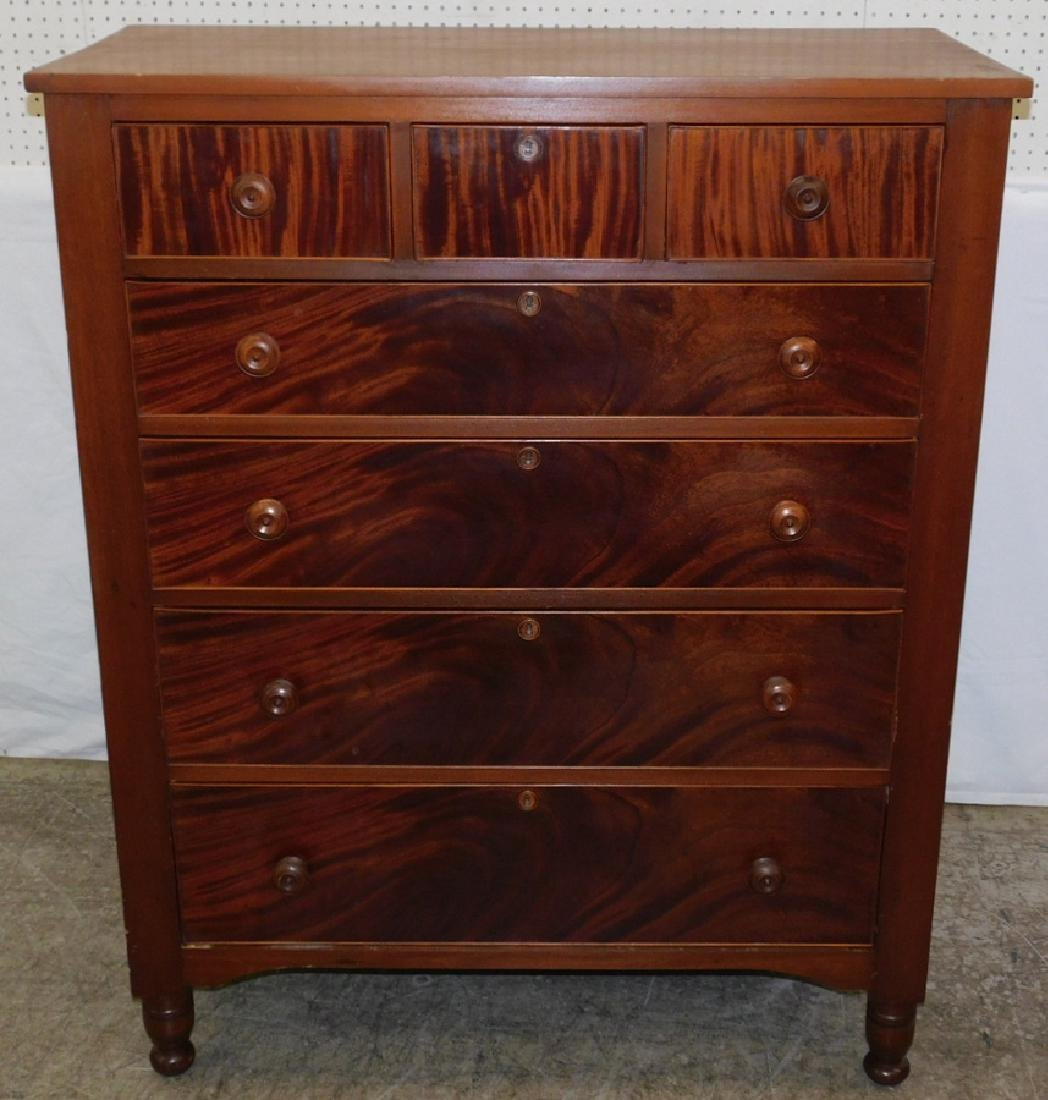 Large Sheraton 3/4 mahog front & cherry tall chest.