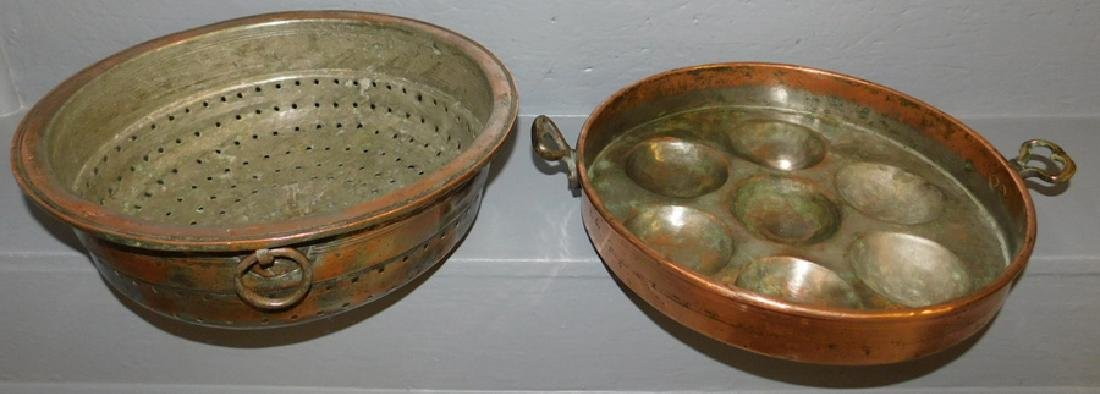 Polished copper strainer and egg poacher.
