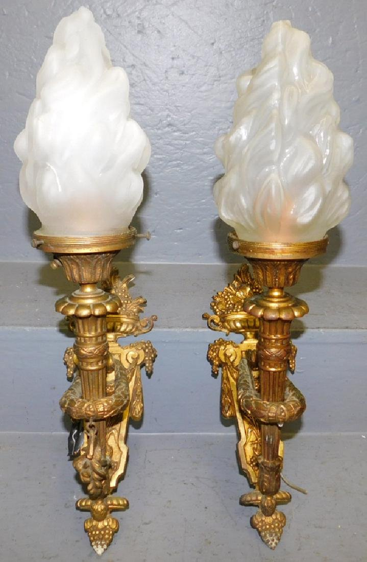 Pr Fr gilt bronze sconces w/ flame frosted shades.