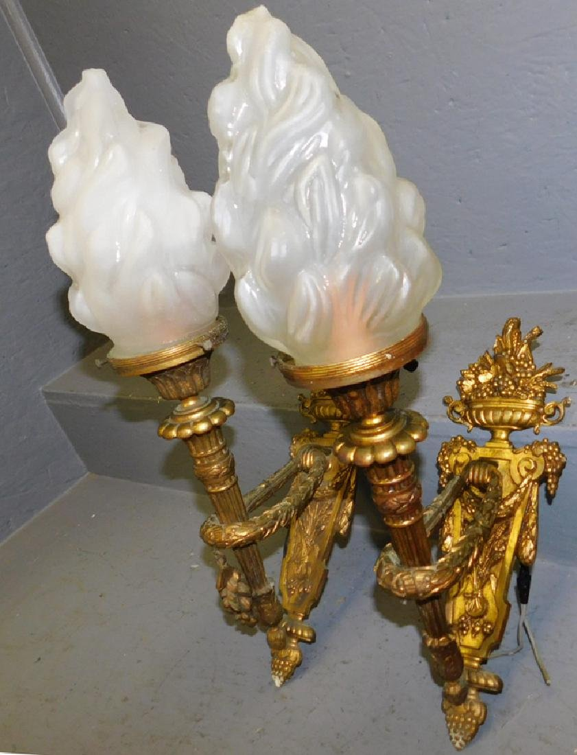 Pr Fr gilt bronze sconces w/ flame frosted shades. - 2
