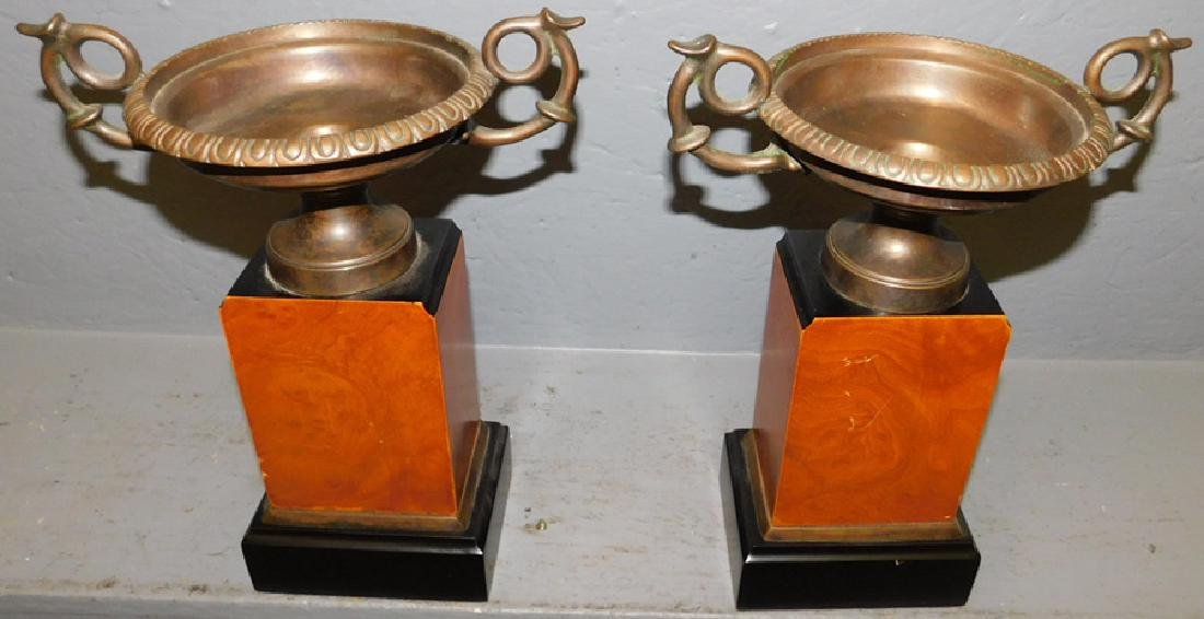 """Pair of brass and wood garnitures. 12"""" tall."""