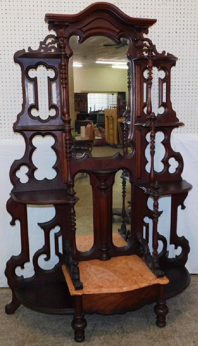 Walnut Victorian etagere with marble top.