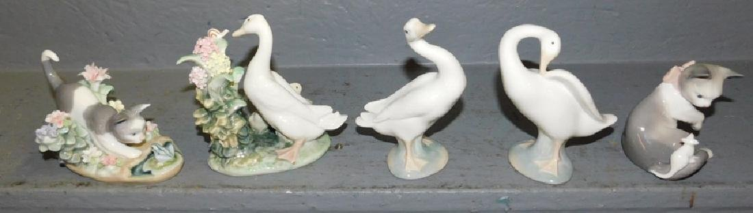 "5 small Lladro figures. To 5"" tall."