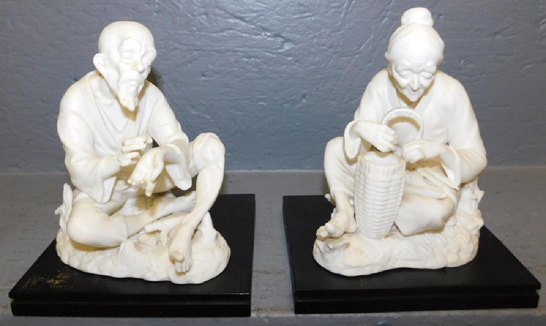 2 bisque oriental figures, one has chips